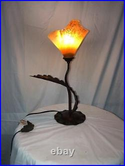 1 Light Table Lamp With Hande Made Blown Glass Shade YellowithGreen