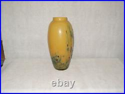 20 X 8 Signed Hand Blown Art Glass Vase Green Made In Romania