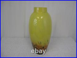 20 X 8 Signed Hand Blown Art Glass Vase Green Made In Romania #2