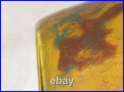 20 x 8 SIGNED HAND BLOWN ART GLASS VASE YELLOWithBROWN /GREEN MADE IN ROMANIA