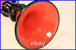 32 Dino Diaconescu Red Ruffled Flared Top Fused Art Glass Trumpet Vase Signed