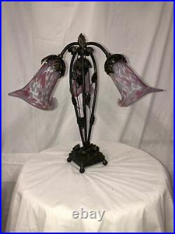 ART DECO STYLE HANDMADE WROUGHT IRON TABLE LAMP 3 BLOWN GLASS SHADES Pink/White