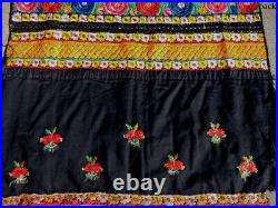 An old exceptional traditional hand embroidered silk apron skirt romania #25