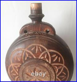 Antique Hand Made Pyrography Wood Wine Brandy Pitcher Flask Romania