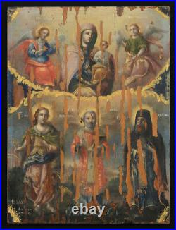 Antique Icon The Mother Of God With The Child And Saints, D. 1856, Romania