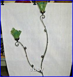 Art Deco 2 Lights Wrought Iron Floor With Blown Glass Shades Green
