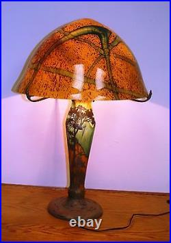Art Deco Hand Made Glass Table Lamp Multi-color Overlay Silver Painting