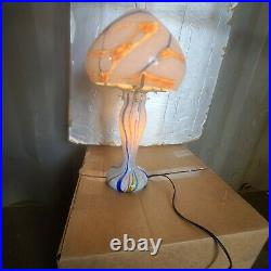 Art Deco Style Hand Made Blown Glass Table Lamp White Multi Color
