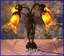 Art Deco Style Wrought Iron Table Lamp & 4 Yellow Blown Glass Shades