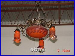 Art Deco Style Wrought Iron /glass Chandelier Red Multicolor