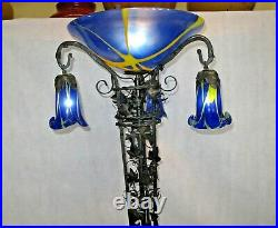 Art Deco Wrought Iron Floor With Blown Glass Yello Shades