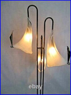 Art Deco/art Nouveau Wrought Iron Floor With Signed Blown Glass Shades White