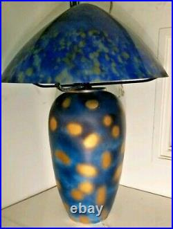 Art nouveau table lamp Huge Hand-made Blown Glass Shade Blue Multi