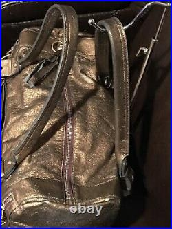 Authentic CHLOE Logo Hand Tote Bag Leather Golden Color Made In Romania