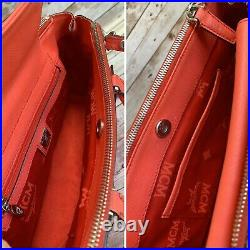 Authentic MCM Mila Poppy Red Saffiano Leather Small Satchel/Shoulder Bag