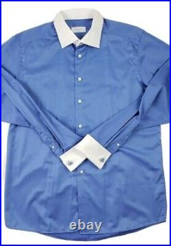 ETON Men's Contemporary Fit Blue White French Cuffs Dress Shirt Size 44 17.5