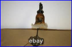 French Art Deco Style Handmade Bronze Table Lamp /galle Style Blown Glass Shade