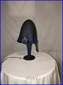 French Art Nouveau Style Blown Glass Table Lamp Octopus Silver Coated