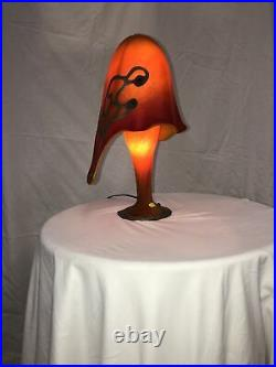 HAND-MADE GLASS TABLE LAMP OCTOPUS SHAPE WITH SILVER DECOR Orange /Red #1