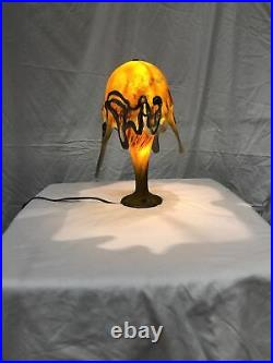 HAND-MADE GLASS TABLE LAMP OCTOPUS SHAPE WITH SILVER DECOR YellowithRed/Green