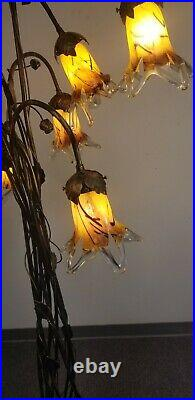 Hand Made Wrought Iron Floor Lamp & 8 Red Mixed Glass Tulip Shades
