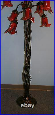 Hand Made Wrought Iron Floor Lamp Red/blue Glass Shades