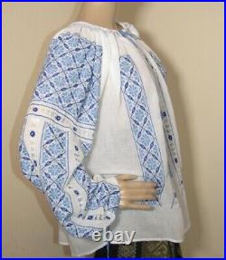 Hand embroidered blouse top Romanian hand stitched ethnic boho hippie top size L