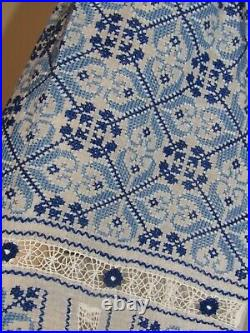Hand embroidered blouse top Romanian hand stitched ethnic boho top size M- L