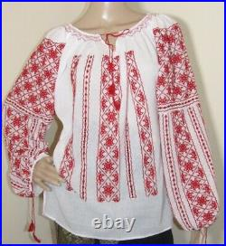 Hand embroidered blouse top Romanian hand stitched ethnic hippie top size S M