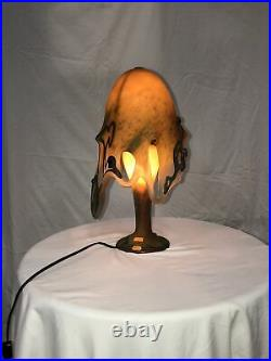 Hand-made Blown Glass Table Lamp Octopus Shape With Silver Decor #2