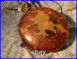Modern French Reproduction Acid Etched Cameo Glass Chandelier Hand Made Romania