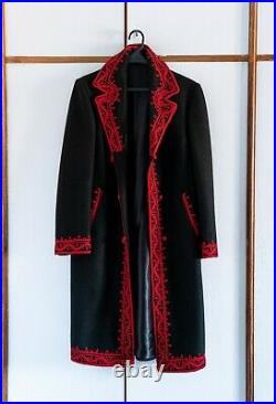 NEW Vintage Romanian black wool Tailored warm coat with red handmade embroidery