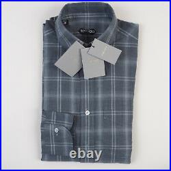 NWT Tom Ford Dress Shirt 39 / 15 1/2 Tailored Fit Check Gray White Blue Pocket