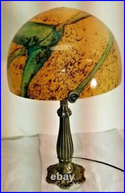 Pair Of Art Nouveau Table Lamp Bronze Base/Hand-Blown Glass Shade Green/Brown