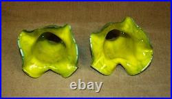 Pair Of Hand Made Mouth Blown Glass Tulip Shade Green Crackled #2