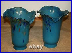 Pair Of Thick Hand Blown Glass Lamp Shade Blue Mixed