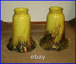 Pair Of Thick Handmade Mouth Blown Glass Tulip Shade Green Mixed