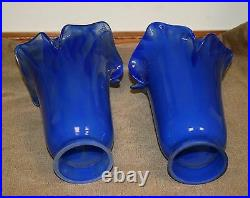 Pair Of Thick Handmade Mouth Blown Glass Tulip Shades Blue