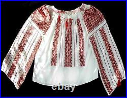 Romanian Folk Blouse Hand Embroidery. See-through Cotton Gauze. Made in Romania