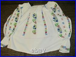 Romanian blouse hand beaded antique restored peasant wedding costume blouse S M
