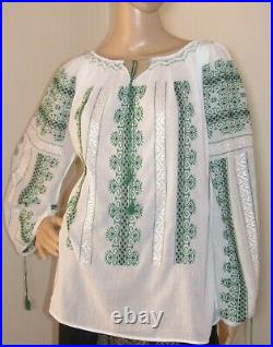 Romanian blouse hand embroidered, hand stitched shirt handmade ethnic top S-M