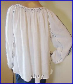 Romanian blouse hand embroidered, hand stitched tunic hand made ethnic top M