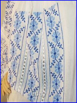 Romanian blouse hand embroidered, hand stitched tunic hand made ethnic top M/L