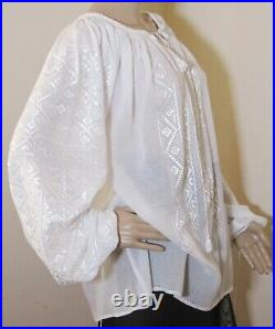 Romanian blouse handmade, hand embroidered ethnic top, hand stitched top L XL