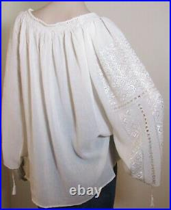 Romanian blouse handmade, hand embroidered ethnic top, hand stitched top M