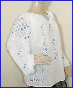 Romanian peasant blouse hand embroidere hand stitched ethnic lace top size M L
