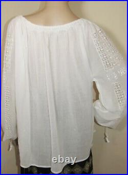 Romanian peasant blouse hand stitched ethnic boho top tunic hand made lace L