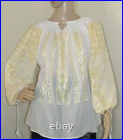 Romanian peasant blouse, hand stitched, handmade ethnic boho chic hippie top M/L