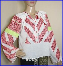 Romanian peasant blouse vintage hand stitched hand made Romanian top size S/M