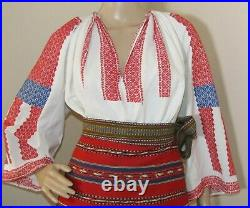 Romanian peasant costume, hand woven Romanian traditional outfit size M